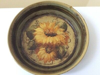 Signed Peter Ompir vintage hand painted folk art tole tin, rare sunflower