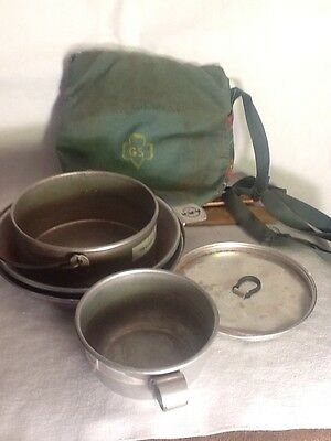 Vintage Aluminum Girl Scout Camping Mess Kit & Pouch Cool Kitschy Collectible!