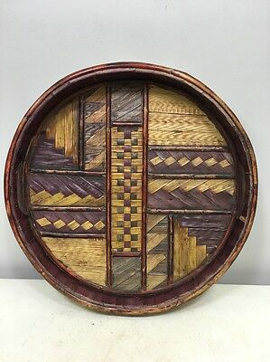 Indonesian Lontar Woven Basket Painted Reeds Tray
