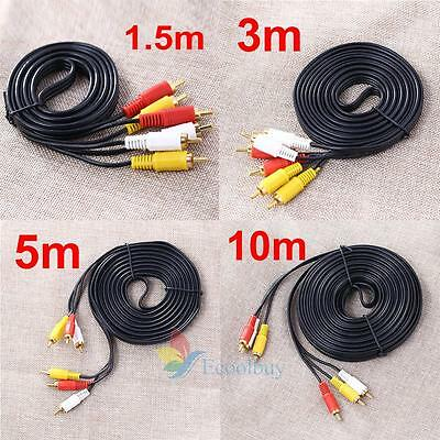 1.5M/3M/5M/10M 3 RCA Male to Male Composite AV Audio Video Cable DVD TV Lead A