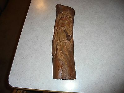 vintage hand carved wooden sculpure old man smoking a pipe awesome details.