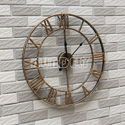 LARGE Skeleton Cut Out gold Metal Roman Numeral Wall Clock NEW Kitchen 47cm