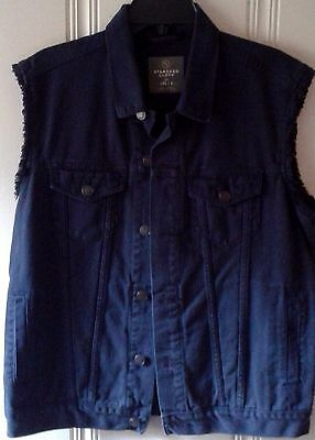 Men's Urban Outfitters Standard Cloth denim vest L 100% cotton biker NEW