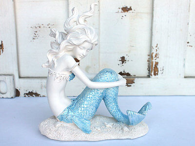 Mermaid Statue With Blowing Hair ~ Blue Tail & Accents. Beach and Nautical.