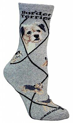 Border Terrier Dog Breed Gray Lightweight Stretch Cotton Adult Socks