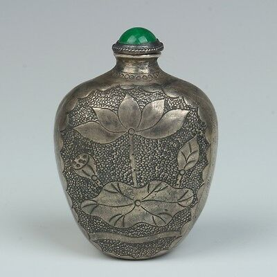 Exquisite Chinese silver hand-crafted lotus&fish snuff bottle