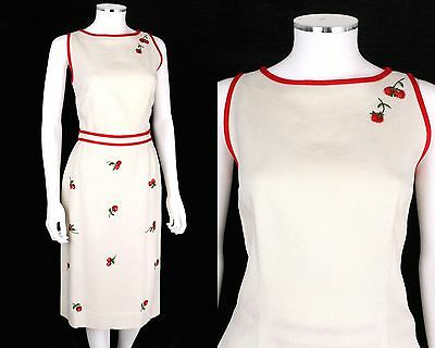 VTG 50s SLOAT & CO IVORY 2-PC LINEN TOP SKIRT SET RED STRAWBERRY EMBROIDERY SZ M