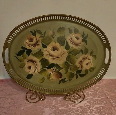 Hand Decorated Tole Pilgrim Art Tray  (Green with roses)