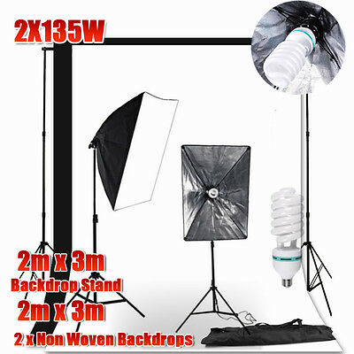 PRO. 2x3M Backdrop Set 1350W Photo Studio Softbox Continuous Lighting kit -LOCAL