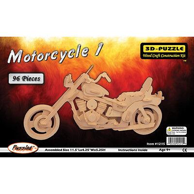 """Jigsaw 3D Puzzle 96 Pieces 11.5""""X4.25""""X5.25"""" Motorcycle P1215"""