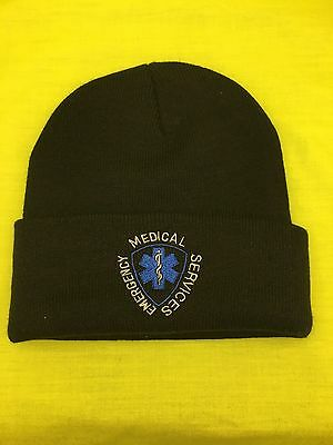 NEW Embroidered Emergency Medical Technician Black Medical EMT Knit Stocking Cap