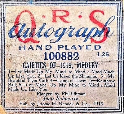 QRS Autograph GAIETIES OF 1919 MEDLEY Lg. Extended Play 100882 Player Piano Roll