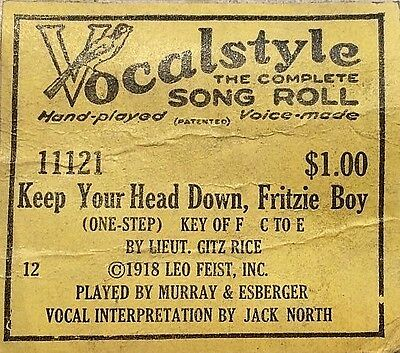 VOCALSTYLE Song Roll KEEP YOUR HEAD DOWN FRITZIE BOY 11121 Player Piano Roll