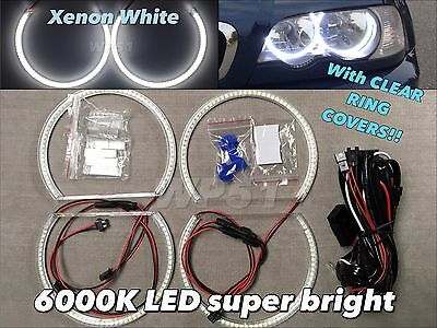 LED SMD 6000K Angel Eye Halo Ring DRL Xenon White For 98-05 E46 4D W/ Projector