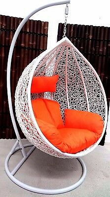 Outdoor Hanging Swing Pod Chair n Stand. White or Black Rattan. Decor My Villa