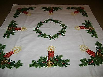 "Vintage Christmas Tablecloth...Candles/Wreath...Square...28""x28"""