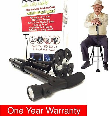 Magic Cane Folding LED Safety Walking Stick 4 Head Pivoting Trusty Base Black