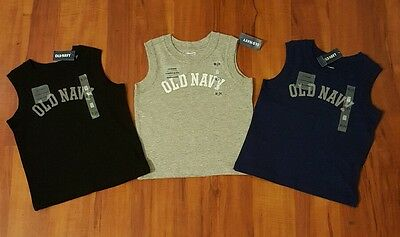 NWT Toddler Boy Old Navy Sleeveless Shirts Lot of 3, 18-24 Months, Multicolor