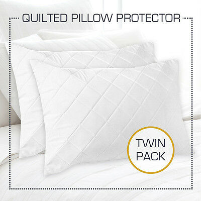 TWIN PACK Aus Made Quilted Pillow Protectors Case Cotton Cover 48cm x 73cm