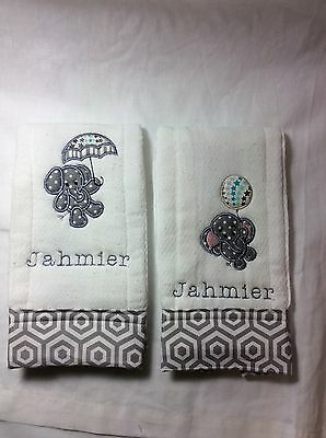 Personalized Burp Cloth with Baby Elephant Chevron Set of Two Twins