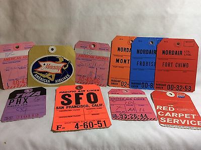 Set of TEN 1960s Era Used Airline Luggage Tags