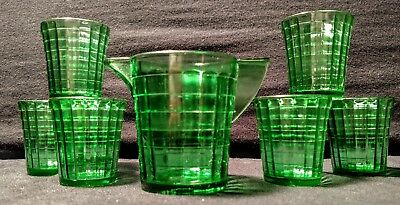 AKRO Agate Stacked Disc Interior Panel green child's water set (uranium glass)