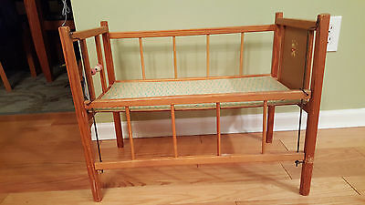 Mid Century Vtg  Wood Drop-Side Doll Crib with Spinner Beads +  Bunny Decal