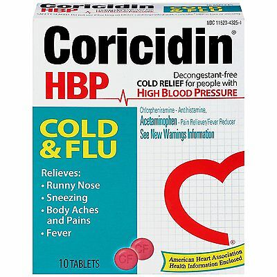 Coricidin HBP Cold and Flu, relief for individuals with high blood pressure 10ct