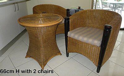 Cane Table and 2 Matching Chairs