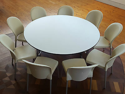 7 x Round White Dining Function Trestle Tables