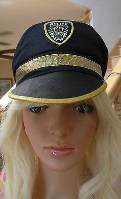New Adult Blue & Gold POLICE HAT Cap Halloween Costume Accessory One Size
