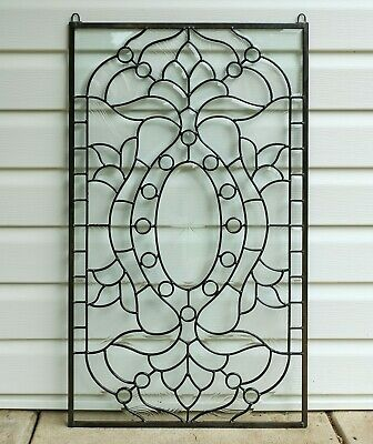 """Stunning Handcrafted stained glass Clear Beveled window panel, 20.5"""" x 34.5"""""""