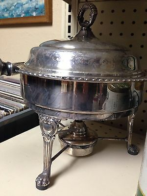 Vintage Silver Plated 3 Piece Chafing Dish W/ Wood Handle And Warmer