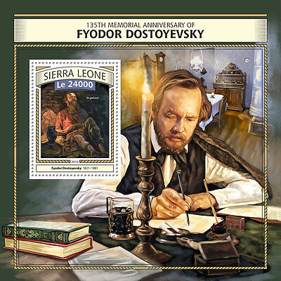 Sierra Leone 2016 MNH Fyodor Dostoyevsky 135th Memorial 1v S/S Writers Stamps