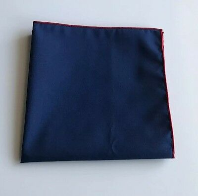 Men's Navy Blue Pocket Square with Red Trim