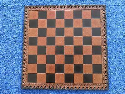 Vintage Chess Set With Italian Leather Chess Board