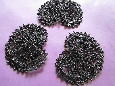 Antique Victorian-3 piece beads/applique from black Jet France