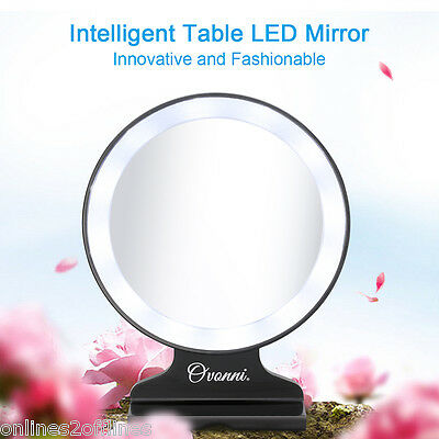 5X Magnifying Beauty Stand Makeup Mirror with LED Light Vanity Cosmetic Travel