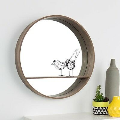 Large 65 cm Bathroom Living Room Bedroom Wooden Round Mirror with Shelf Wall Art