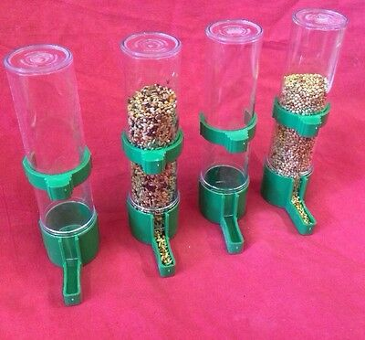 Bird Feeder X 4 Water Drinker Seed Clipper Fountain Budgie Canary Finch Lg GREEN