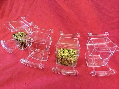 Bird Cup 4 X Cage Clip On Water Food Bowl Countainer 2 Hook Cup Budgie Canary