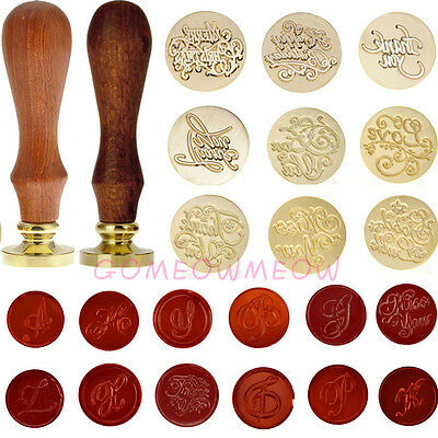 Personalized Scrapbook Wedding Card Wax Bless Letter Seal Stamp W/Wooden Handle