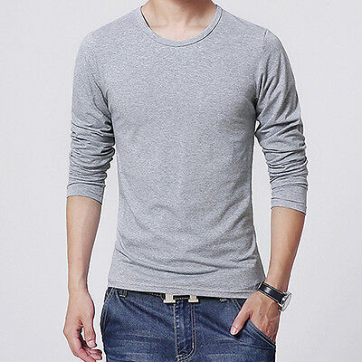 Men Slim Fit Long Sleeve T-shirt Tee Shirt Casual Round Neck Top Intriguing