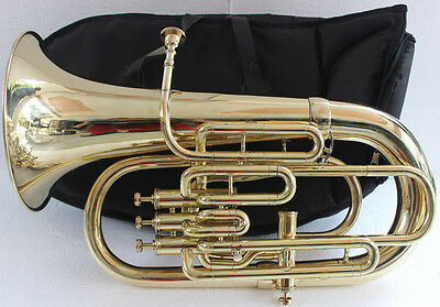 "Euphonium Best Shinning Brass Bb FLAT 4V ""CHOPRA ""M/ PIECE & Bag Fast Shipping"