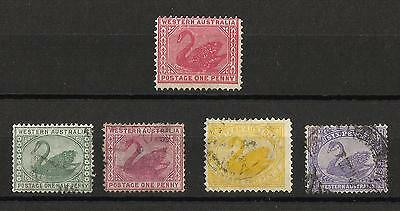 Western Australia - 5 stamps - 4 used & 1 mint