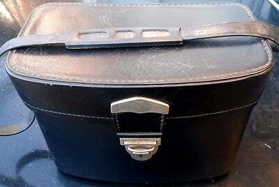 Vintage Shoulder Case. With Camera Cradle. Black Leather. Locks With Key.