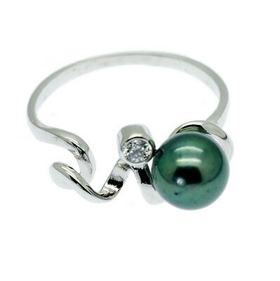 Green Cultured Pearl Cocktail Ring + Faux Diamond Sterling Silver - Size M N O Q