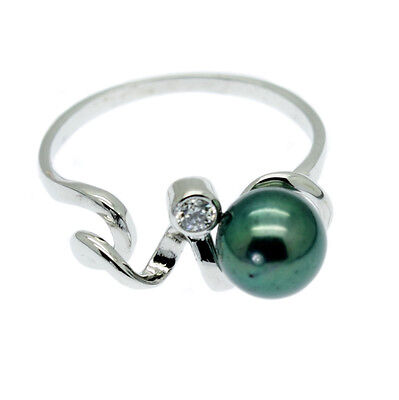 Green Cultured Pearl Cocktail Ring + Faux Diamond Sterling Silver - Gift Boxed