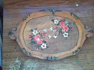 Oval-Shaped Wooden Tray - Decorated.