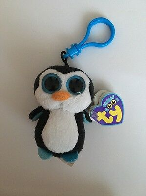 "New Rare & Retired Ty Beanie Boo Waddles Penguin Key Clip 3""  Soft Plush Toy"